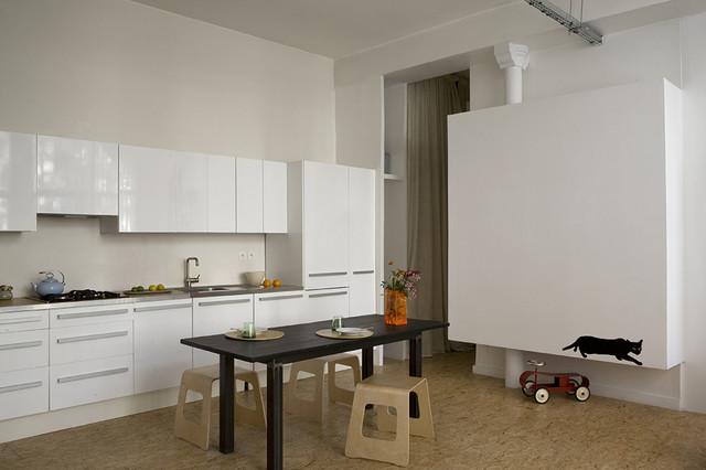 Loft belleville salle manger contemporary kitchen for Salle a manger loft