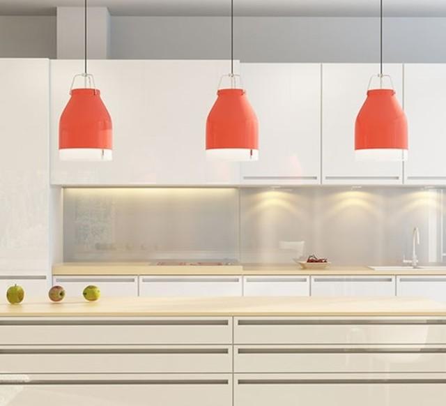 luminaires pour la cuisine suspension led wifi cowbelle rouge pastel h30 contemporain. Black Bedroom Furniture Sets. Home Design Ideas