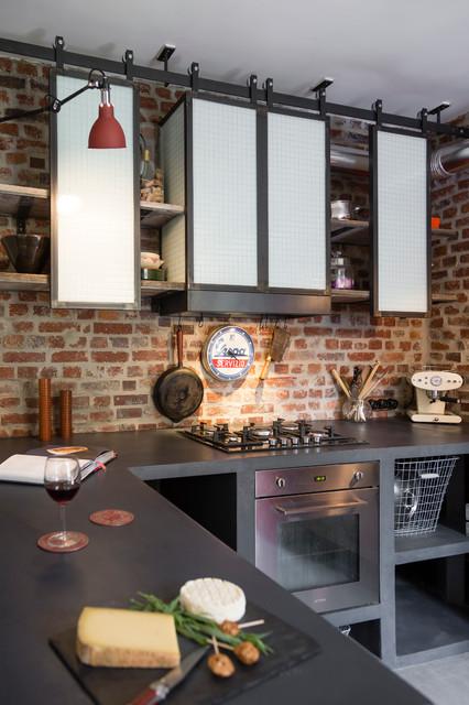 Meuble de cuisine indus industriel cuisine other - Hotte aspirante industrielle ...