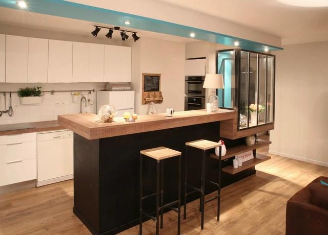 ouverture d 39 une cuisine sur s jour moderne cuisine lyon par a mi bois menuisier agenceur