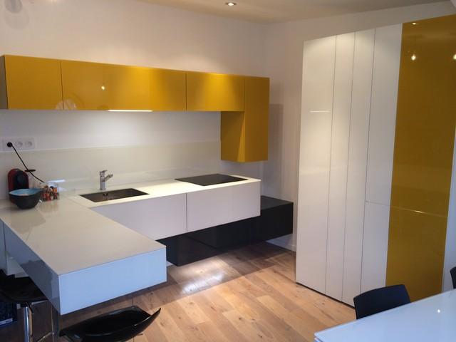 Petite cuisine ouverte dans appartement parisien for Petite cuisine appartement