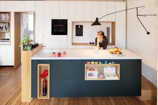 Plus d 39 espace r novation d 39 appartement haussmanien for Cuisine ouverte appartement haussmannien