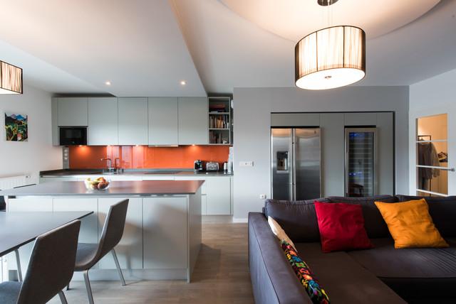 projet cuisine salon lin aire avec grand lot central contemporain cuisine paris par la. Black Bedroom Furniture Sets. Home Design Ideas