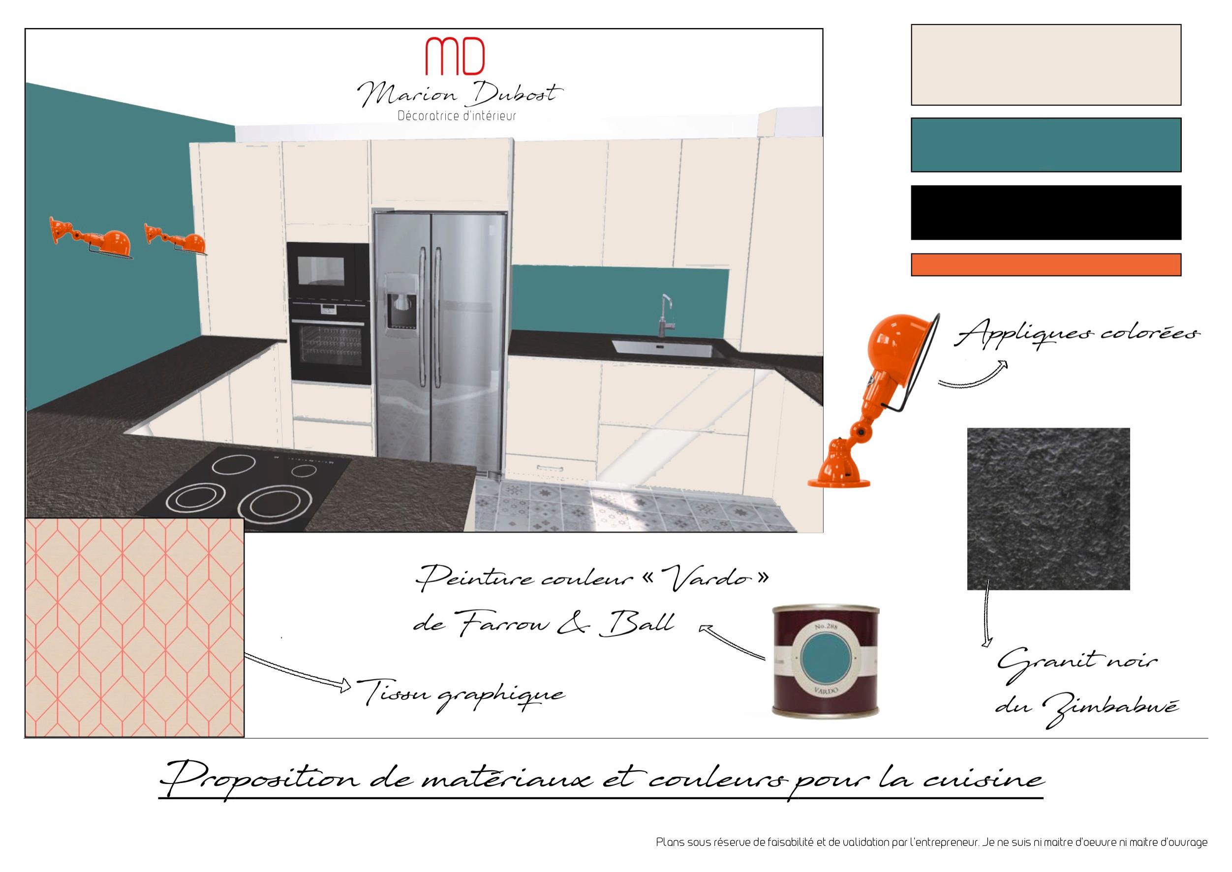 Proposition de couleurs et matières pour une cuisine à Chatou