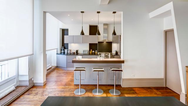 r novation appartement ancien dans la ville de bordeaux contemporain cuisine bordeaux. Black Bedroom Furniture Sets. Home Design Ideas