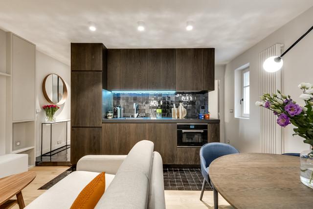 r novation d 39 un appartement de 50m2 paris 16 contemporain cuisine other metro par agv. Black Bedroom Furniture Sets. Home Design Ideas
