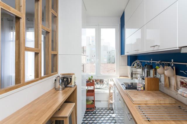 Rénovation d\'une cuisine avec une verriere bois - Scandinavian ...