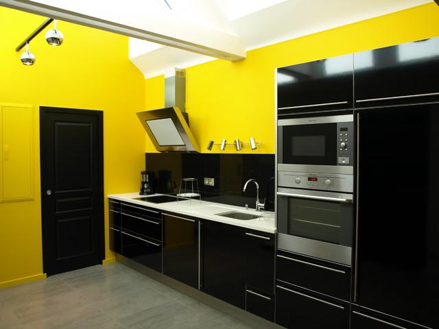 Cuisine jaune et noir id es de conception sont int ressants - Cuisine jaune et noir ...