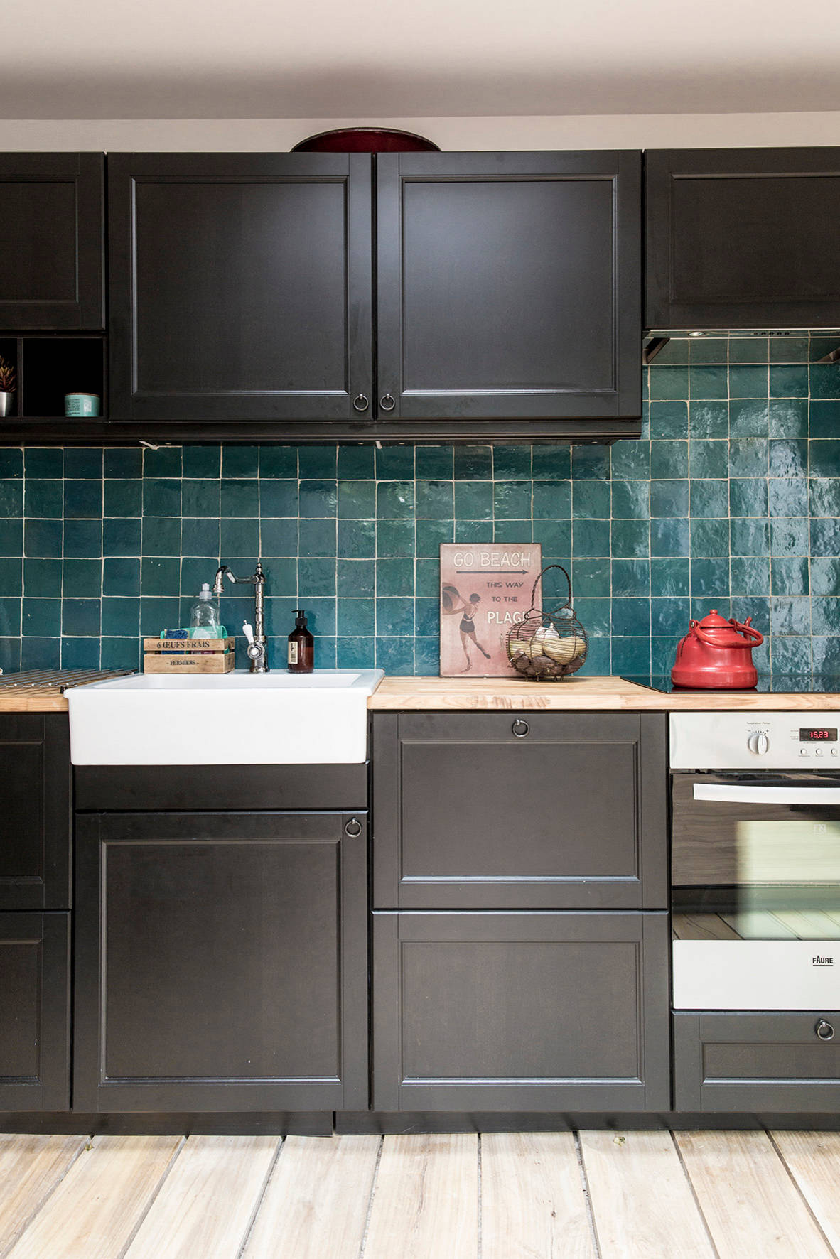 75 Beautiful Kitchen With Black Cabinets And Blue Backsplash Pictures Ideas May 2021 Houzz
