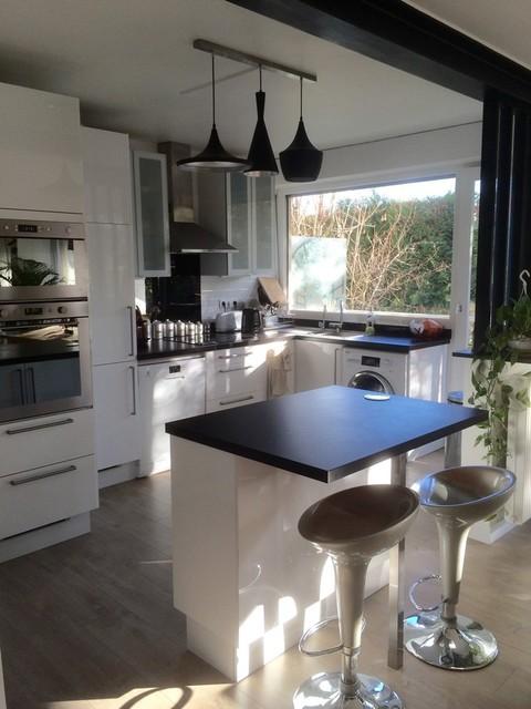 r novation d coration appartement avec ouverture de murs porteurs contemporain cuisine. Black Bedroom Furniture Sets. Home Design Ideas