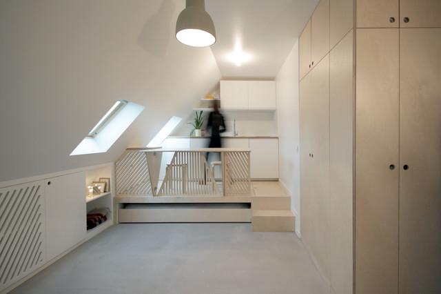 romain - 15 m² transformé en 2 pièces-cuisine ! - contemporary