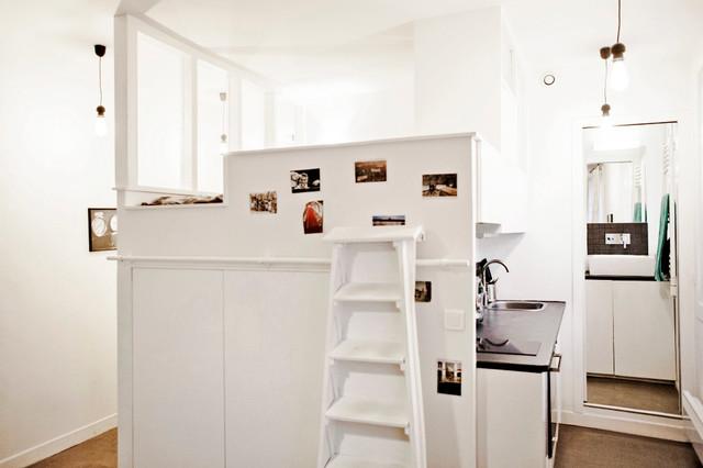 une solution astucieuse pour optimiser un studio contemporain cuisine paris par. Black Bedroom Furniture Sets. Home Design Ideas