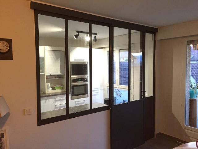 Verrière intérieure cuisine/séjour coulissante - Industrial ...