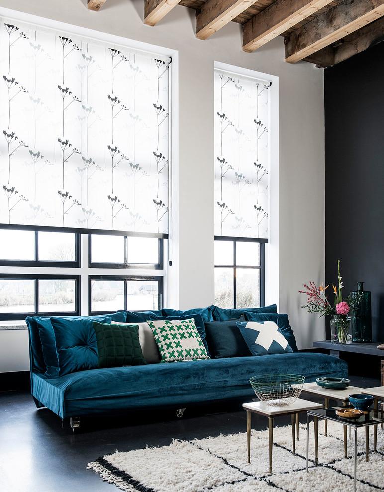 Inspiration for a contemporary formal black floor living room remodel in Copenhagen with black walls