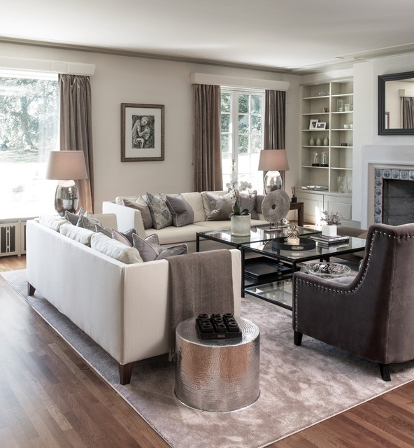 Etonnant Inspiration For A Transitional Medium Tone Wood Floor Living Room Remodel  With White Walls And A
