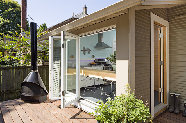 Rear elevation from upper deck contemporary-deck