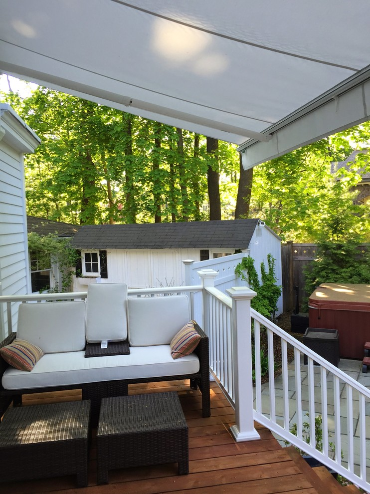 2 Aristocrat Eko Retractable Awnings Installed Over Back Deck Traditional Deck New York By Breslow Home Design Center