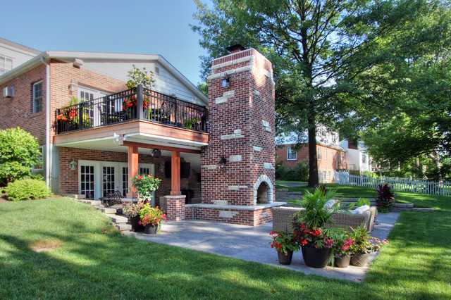 2 Story Outdoor Fireplace Transitional Deck St Louis By