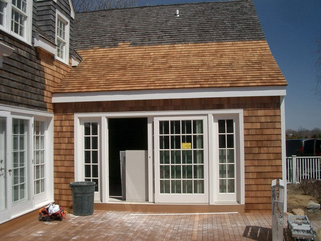 8ft Sliding Doors With Side Lights Beach Style Deck