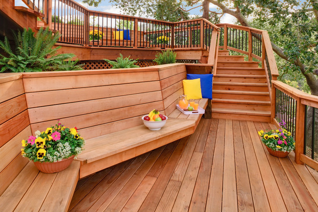 Alamo redwood deck and exterior contemporary porch for Small deck seating ideas