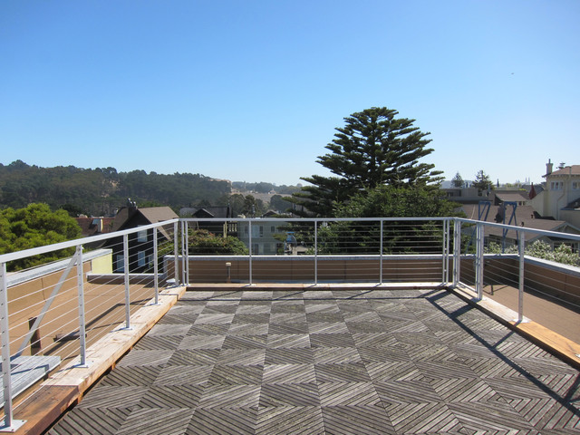 Aluminum Wire Railing Roof deck - Contemporary - Terrace - San ...