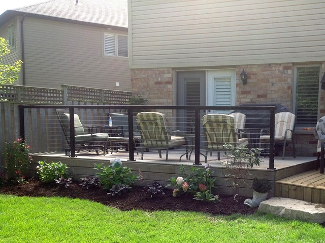 Ancaster Ontario Canada Black Aluminum Post And Top Rail With Cable Rail In