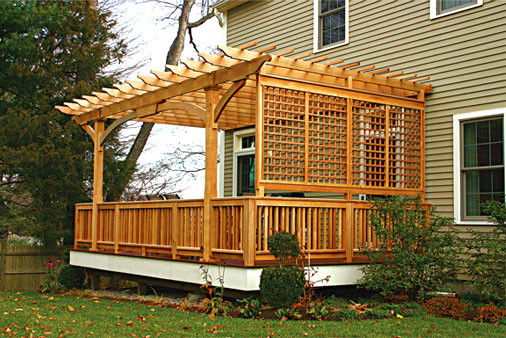 Attached Pergolas Traditional Deck Boston By