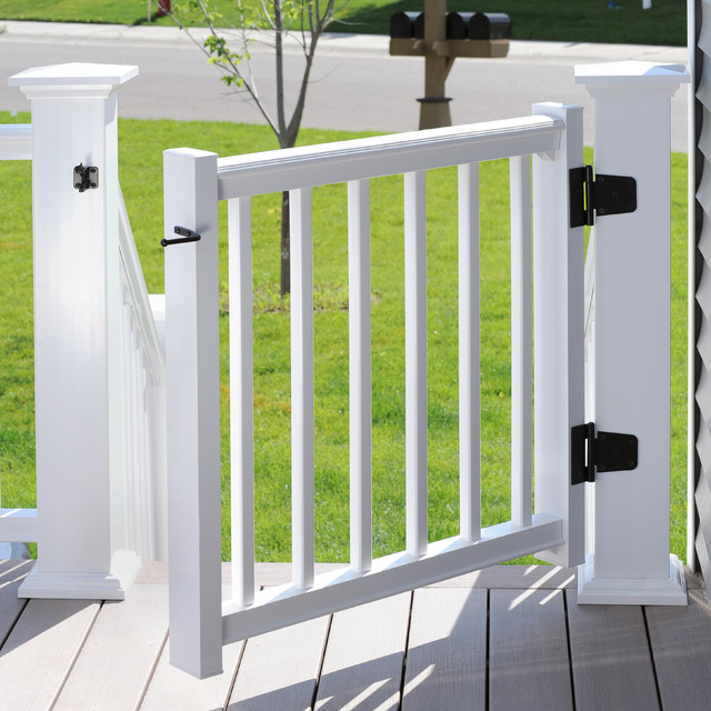 AZEK Rail Trademark In White With Gate Kit Transitional