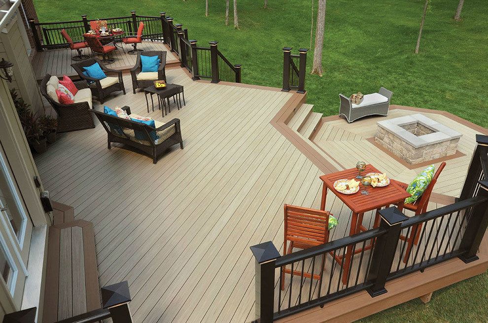 Large elegant backyard deck photo in Cleveland with a fire pit and no cover