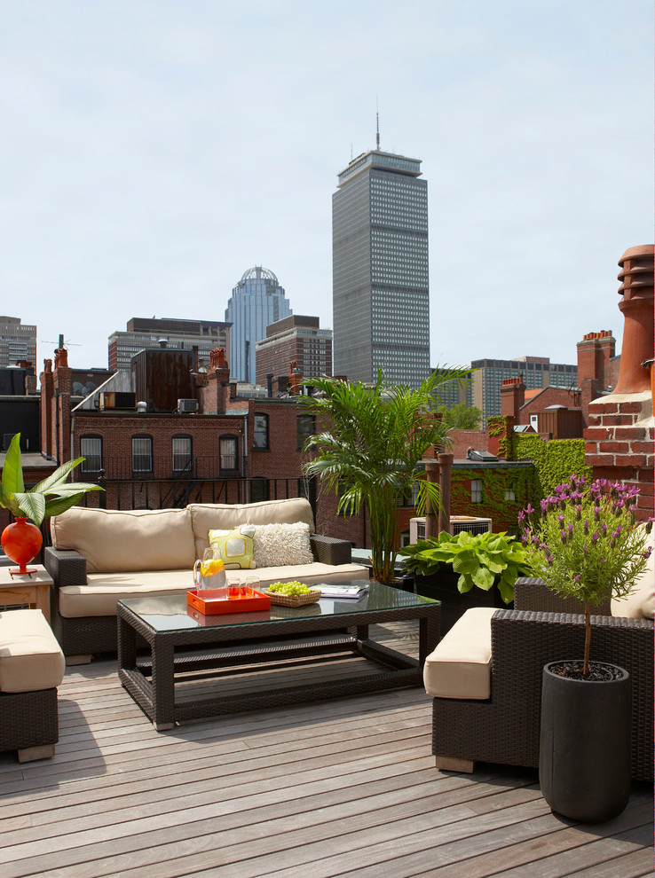 Large trendy rooftop rooftop deck photo in Boston with no cover