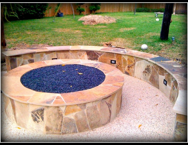 Backyard projects traditional deck houston by for Outdoor fire pit construction