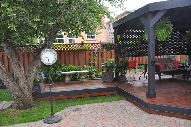 Backyard With Deck Stained Teak And Gazebo Stained Black