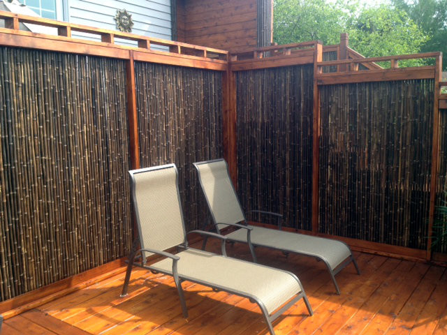 Bamboo fencing black privacy screen for Wood deck privacy panels