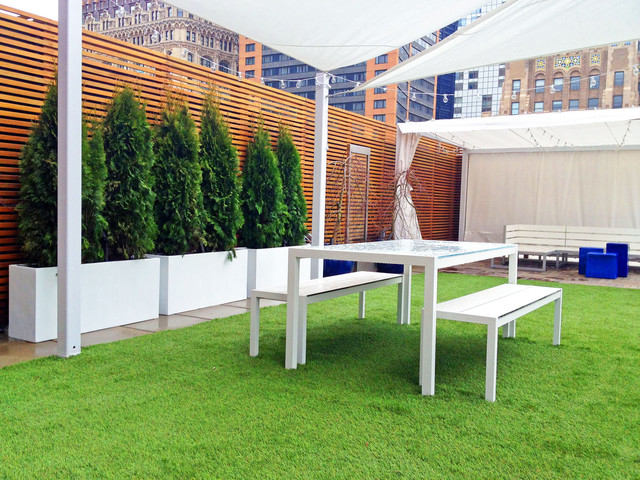 Battery Park City, NYC Roof Garden - Shade Sail, Artificial Turf ...