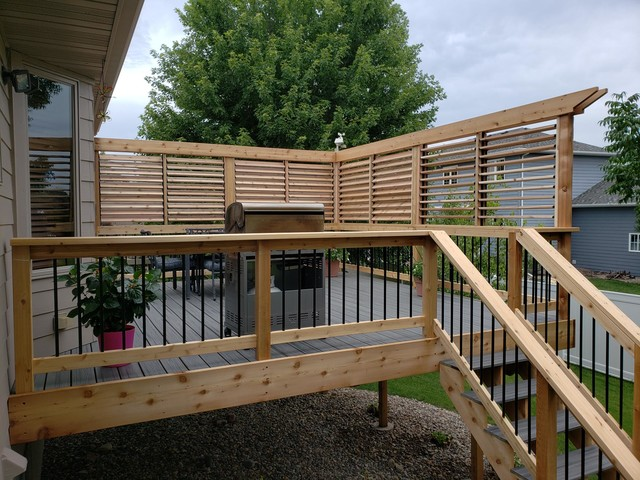 Beautiful Privacy Wall Above Deck Railing On Raised