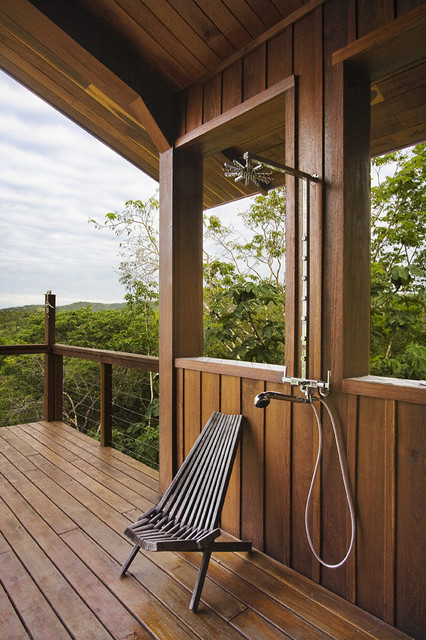 Large mountain style outdoor shower deck photo in New York