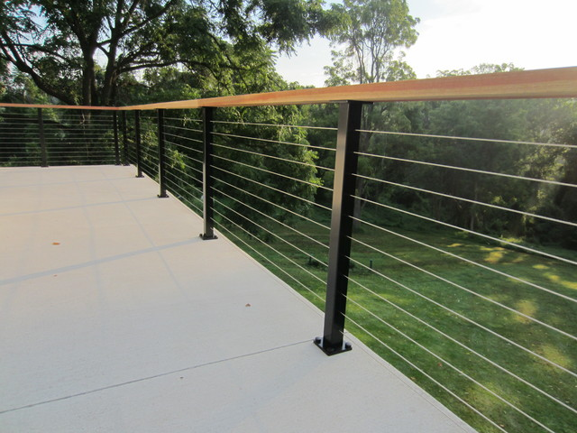 Black Aluminum Posts Wood Top Rail Amp Cable Infill In