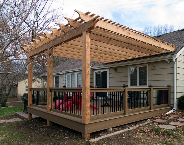 Boothe cedar pergola over composite deck traditional for Balcony roof ideas