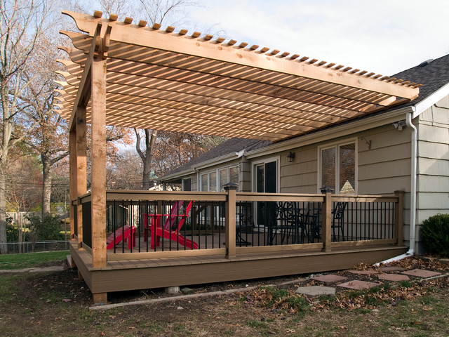 Boothe Cedar Pergola Over Composite Deck Traditional