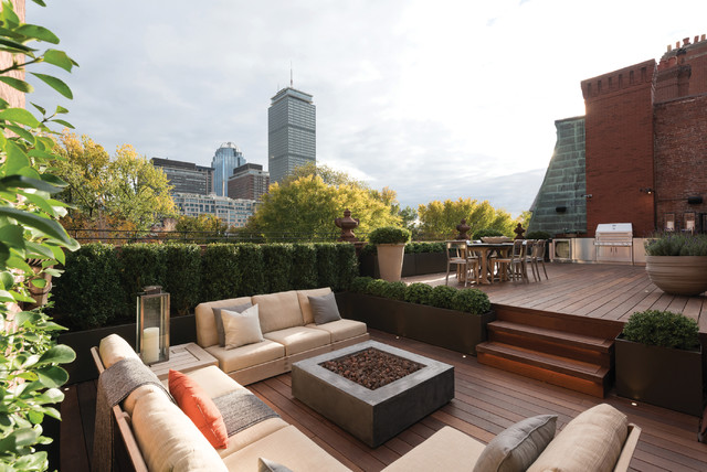 Boston Rooftop Garden Traditional Deck