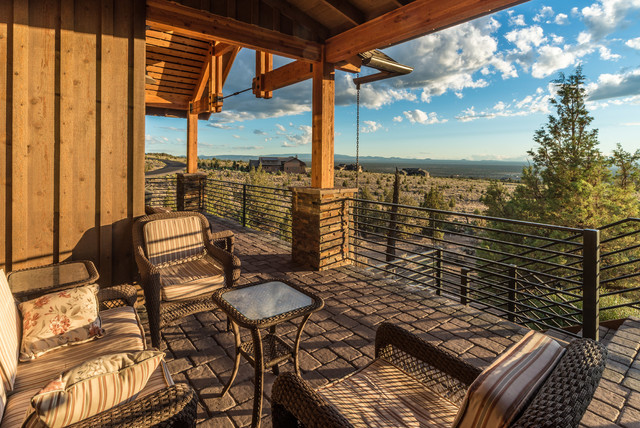 Brasada ranch home design single story with media room for Deck over garage plans