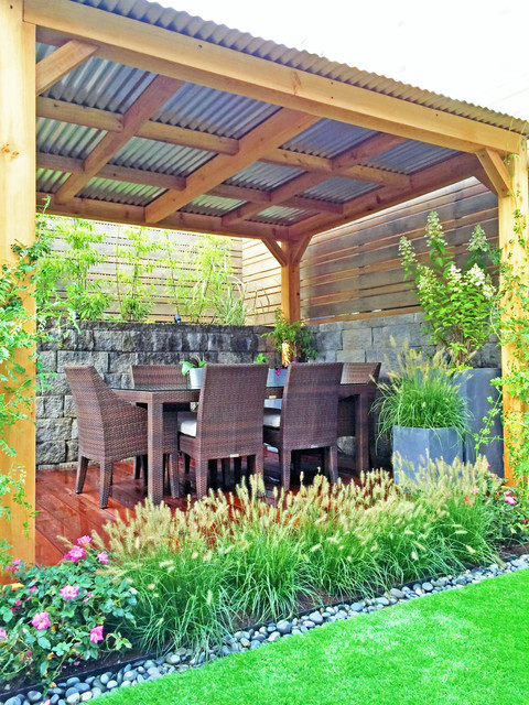brooklyn garden design backyard cedar pergola fence artificial turf grasses contemporary