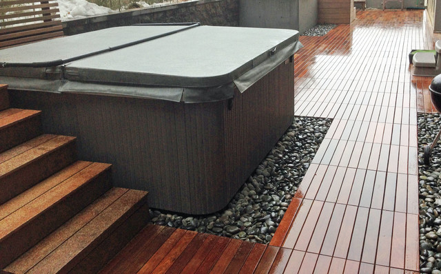Brooklyn Heights Rooftop Terrace Garden Design With Hot Tub And