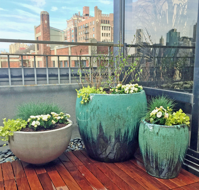 Brooklyn Heights Rooftop Terrace Garden Design With Hot Tub And Deck  Contemporary Terrace And