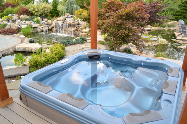 Bullfrog spa set into a trex deck with and awesome view of for Ecosystem pool