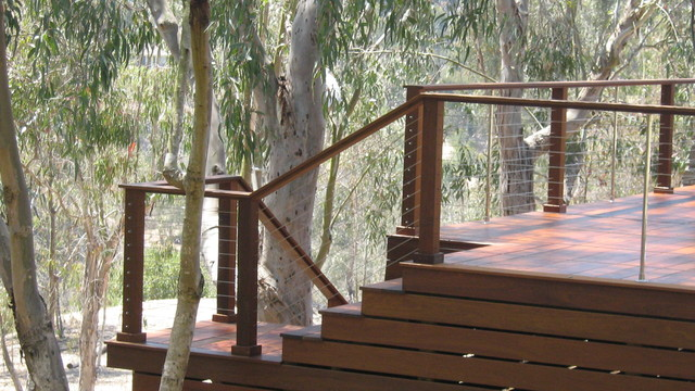 Cable Railing Flowing Down Stairs Modern Deck San