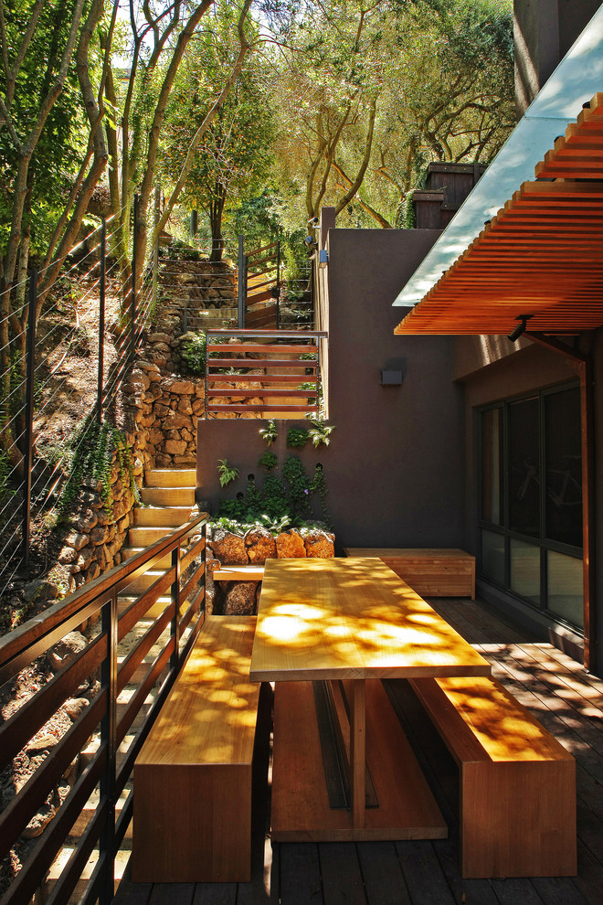 Inspiration for a small contemporary side yard deck remodel in San Francisco with an awning