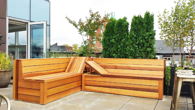 Carroll Gardens Brooklyn Roof Custom Planter Bo Bench And Outdoor Barcontemporary Deck New York
