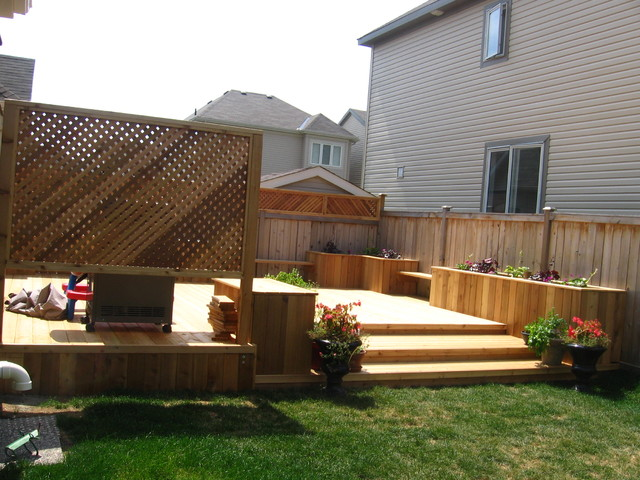 cedar backyard deck with benches and flower boxes Contemporary Deck Ott