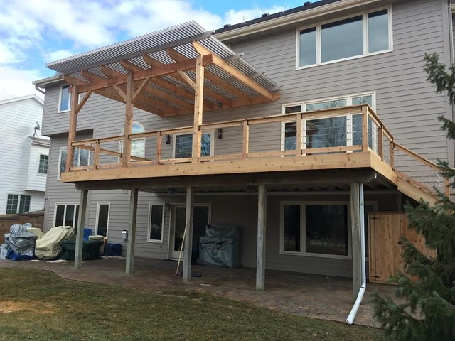 Cedar Deck, Louvered Roof Patio Cover And Custom Storage Cabinet In Clive  Traditional Deck